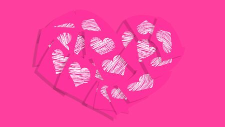 Valentines background in pink with a heart of post it notes with white hearts photo