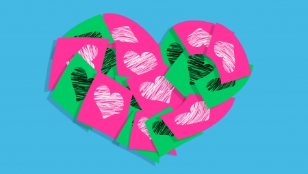 cian: Pink and green love notes for Valentine over cian blue