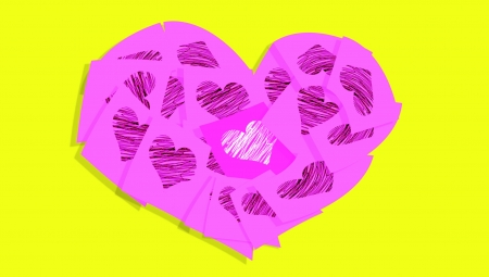 Valentines heart of pink sticky notes with hearts over yellow photo