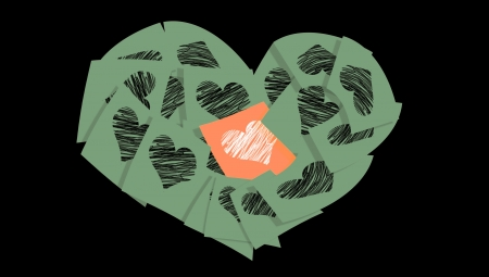 february 1: Sober Christmas military heart of love posts with post-it notes