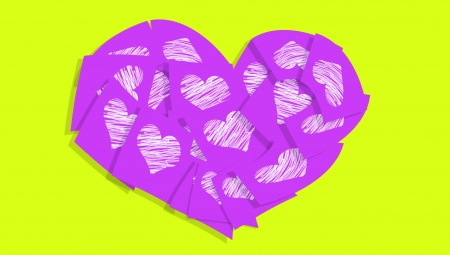 Love messages in purple notes in a heart over yellowish green photo