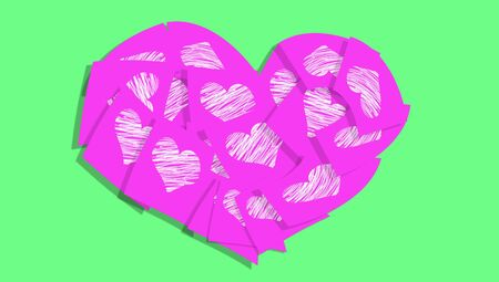Pink love heart with notes with hearts over green background photo