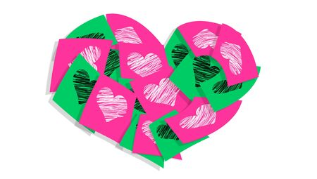 Pink and green heart of stickers isolated over white photo