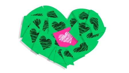 Pink love note making difference in the middle of a bunch of green notes with hearts photo