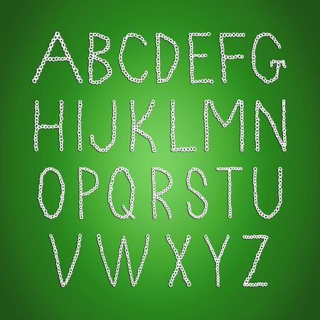 Crochet fonts abc set isolated over green Stock Photo - 17073504