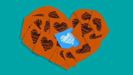 Brown heart of love messages with one different in the center in blue photo