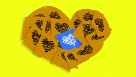 Blue love note different in various ochre notes with hearts over yellow photo