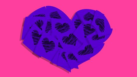 Purple heart of stickers with hearts over pink photo