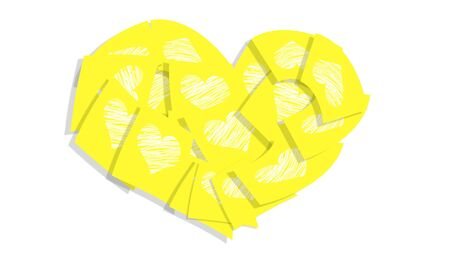 Yellow post it notes with hearts in a heart over white backdrop photo