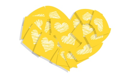 Yellow sticky notes in a heart isolated on white background photo