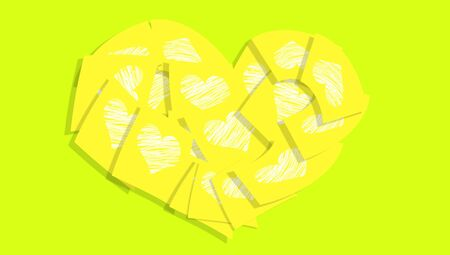 Yellow post-it notes for friendship valentines salutation photo