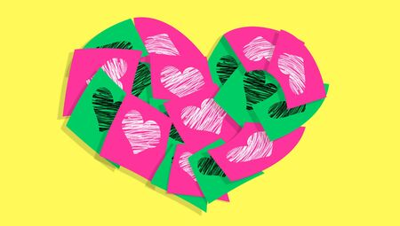 Pink and green posts notes with love hearts in a xmas heart over yellow photo