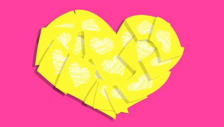 Yellow post it notes with hearts in a heart over pink photo