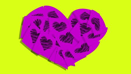 Purple heart of notes with hearts over yellowish green photo