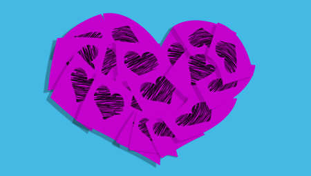 cian: Violet post-it notes heart over cian blue background Stock Photo