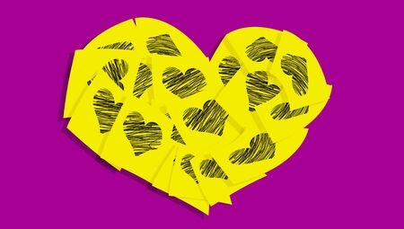 post it notes: Post it notes of love in complementary colors yellow and purple