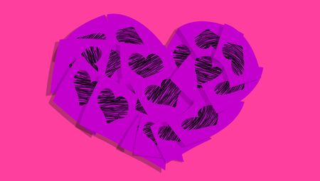 Purple heart of notes with hearts over pink background photo