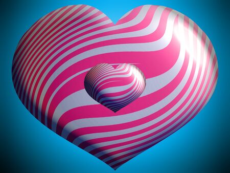 aniversaries: Pink valentines balloons with heart shape over blue Stock Photo