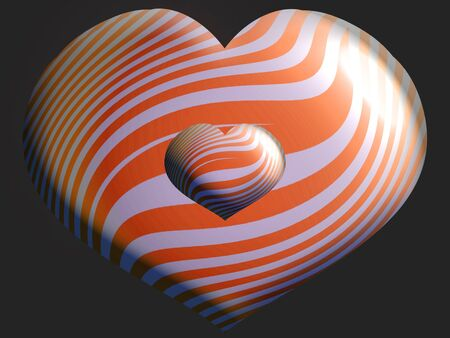 aniversaries: Striped heart balloons in orange and silver over black
