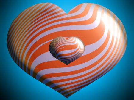 Orange couple of hearts photo