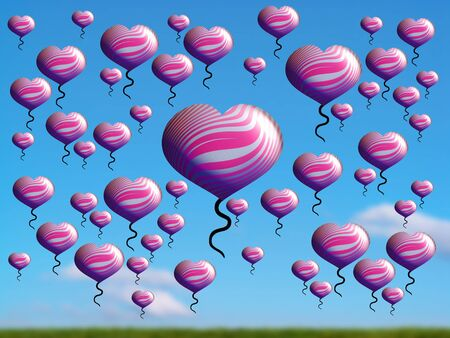 multiplying: Pink valentines hearts flying over country in a bright day Stock Photo