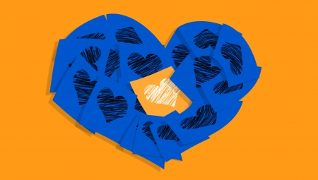 february 1: Blue heart of notes with one orange with hearts