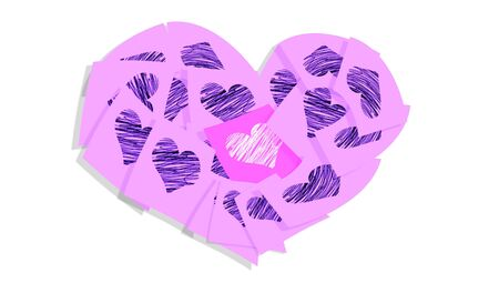 february 1: Isolated pink heart for valentines day
