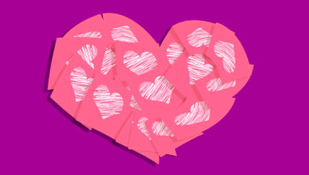 Pink heart of papers with white hearts over purple photo