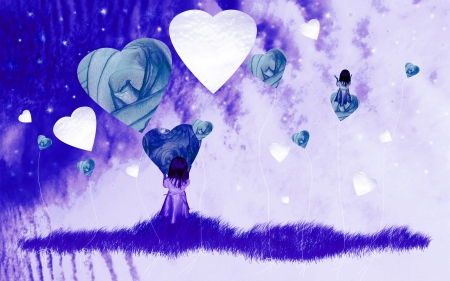 Indigo blue surrealist romantic image with a dreaming child with hearts and flowers photo