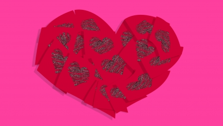 Graphito hearts draws over sticky red notes composing a valentines heart over pink photo