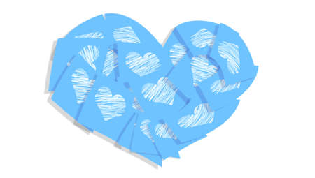 Light blue heart of post it notes with hearts isolated on white photo