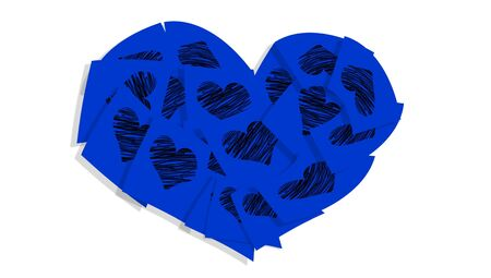 Blue heart of notes of paper with hearts isolated on white photo