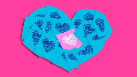 Turquoise blue notes in a heart with one pink in the center photo