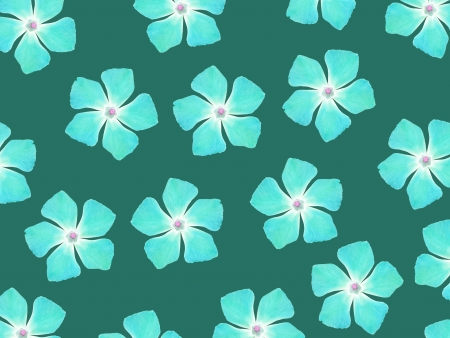 greenish blue: Aqua blue flowers pattern over greenish blue backdrop Stock Photo