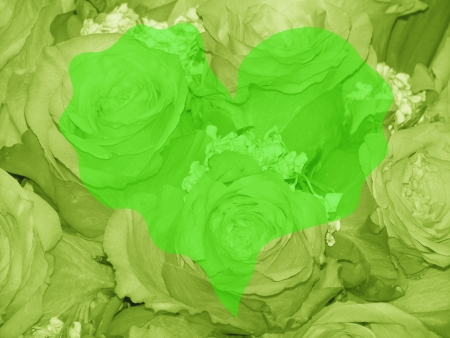 quivering: Eco green background for valentines day with heart and roses Stock Photo