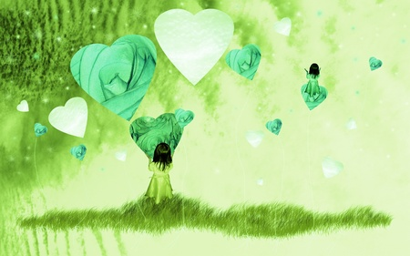 Green fantasy dream of a girl playing with hearts in paradise