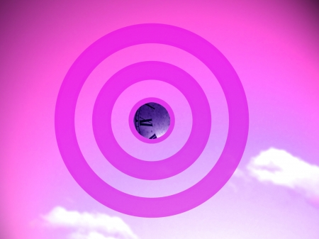 focalize: Old times transforming target in pink conceptual image