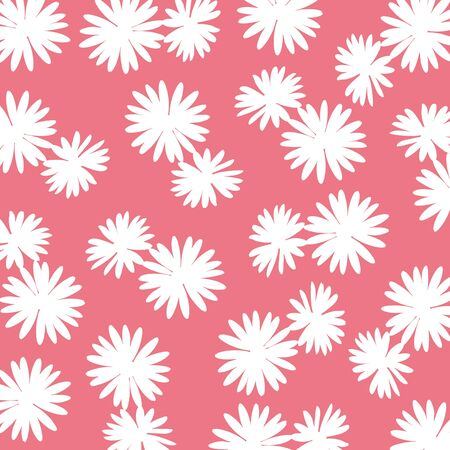 redish: Redish pink background with white wild flowers silhouettes Stock Photo
