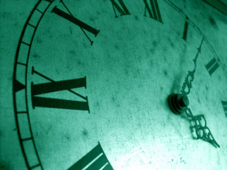 cian: Greenish cian vintage clock closeup