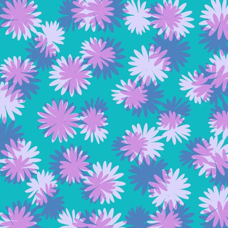 purples: Blue background with flowers in purples