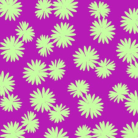 Green wild flowers over purple background photo