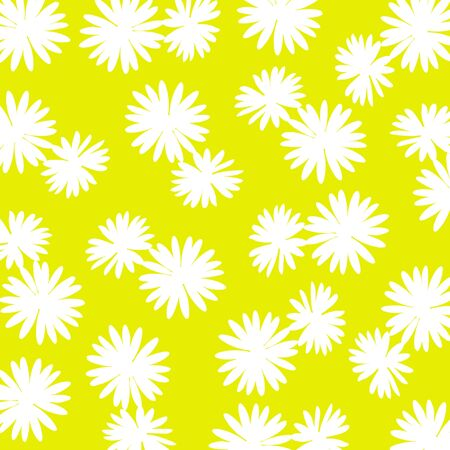 Yellow background with white wild flowers silhouettes Stock Photo - 17115695