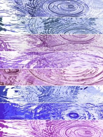 Rainny backgrounds in banners in blue and purple tones