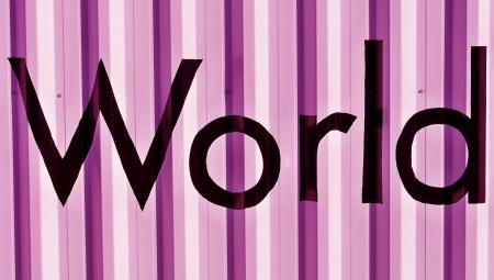 World in black over metallic purplish pink wall background Stock Photo - 17225522