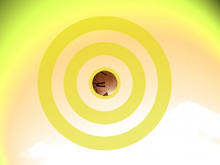 focalize: Time as the center in yellow conceptual image