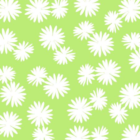 White flowers pattern over green backdrop Stock Photo - 17225601