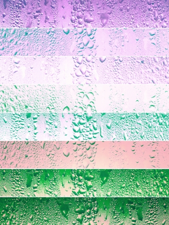 Waterdrops backgrounds in lilac pink and green tones photo
