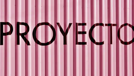 typographies: Pink background with proyect word in spanish, proyecto