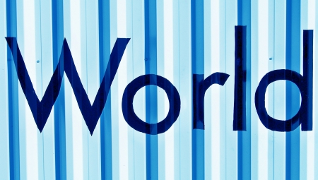 cian: World word in black letters over cian blue metallic wall with vertical lines
