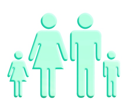 Aqua green family shapes over white background photo